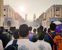 تجهیز و آمادهسازی صحن نجف اشرف برای اسکان سه هزار نفره دانشجویان توسط جهادگران موکب شبابالرضوی
